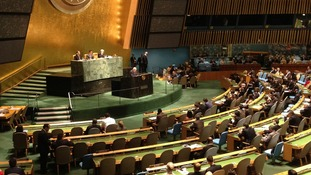 The scene inside the United Nations during the special UN General Assembly session on Syria