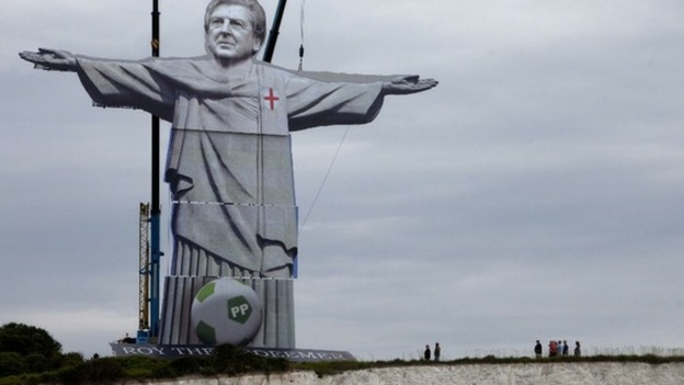 Statue of Roy Hodgson on cliffs of Dover