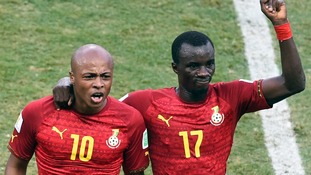 Ghana's Andre Ayew and Mohammed Rabiu during their match with Germany.