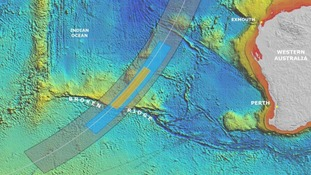 This map shows details of the search for the missing Malaysia Airlines Flight MH370 in the southern Indian Ocean.