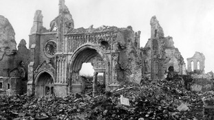The ruined cathedral of Ypres in Belgium pictured in 1914.