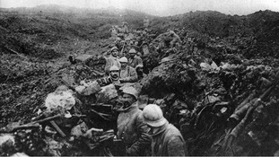 A German trench converted into a French trench after recapture of Fort Douaumont at the Battle of Verdun.