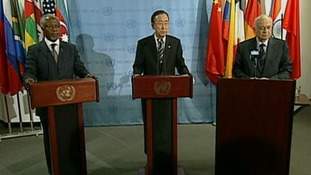 UN envoy Kofi Annan, UN Security General Ban Ki-moon, and Arab League Secretary General Nabil al-Arabi