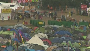 The rain and mud is not deterring festival-goers at Glastonbury.