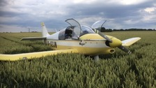 The French built Robin Major aircraft in a wheat field