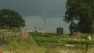A possible tornado was photographed at Stradbroke in Suffolk at 2.30pm on Saturday 28 June 2014
