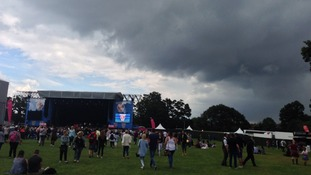 Storm clouds gathering over the East Coast Live music festival event in Chantry Park, Ipswich on 28 June 2014.
