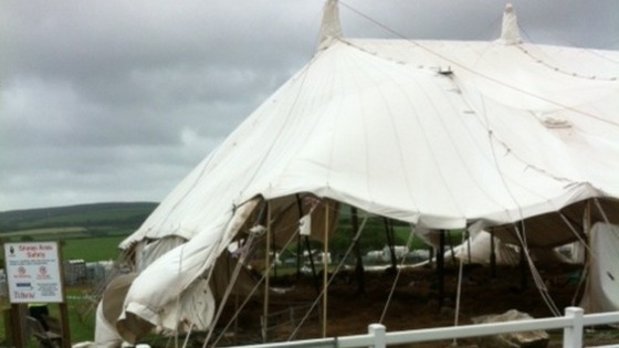 Damaged marquee