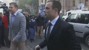 Oscar Pistorius arrives at the high court in Pretoria.