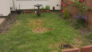 The scorched garden in Newcastle after teenagers escaped from tent fire.