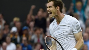 Andy Murray celebrating his win over Kevin Anderson.
