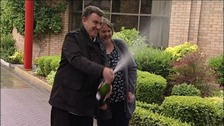 Champagne celebrations for John and Karen Ord