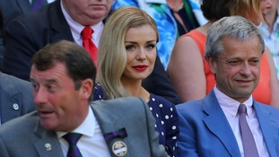 Katherine Jenkins wore a navy blue spotted dress to watch the match from the Royal Box on Centre Court.