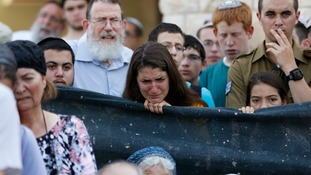 Mourners in the central Israeli village of Nof Ayalon.