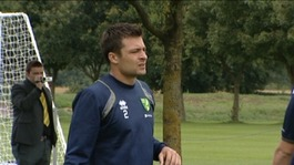 Norwich City defender Russell Martin at Colney training centre