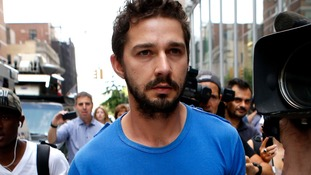 Shia LaBeouf leaving court in New York last week. He did not enter pleas to the charges against him.