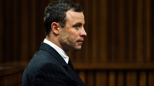Olympic and Paralympic athlete Oscar Pistorius pictured in court today.