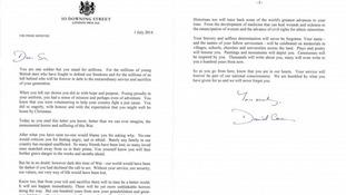 Prime Minister David Cameron's letter.