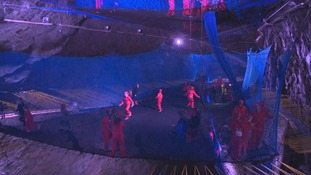 We test the world's largest underground trampoline... in a north Wales slate cavern