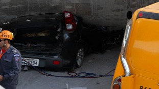 A car was crushed by an overpass in the Brazilian World Cup host city of Belo Horizonte this afternoon.