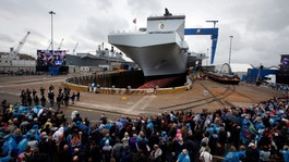 Queen names the Royal Navy's largest ever warship