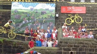 Cragg Vale school kids ready for the Tour to pass by