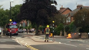 Firefighters have left the scene of the fire and explosion at West Bridgford