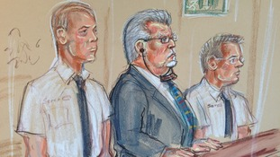 Court sketch of Rolf Harris in the dock earlier today.