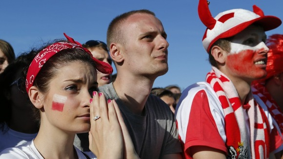 Polish fans look nervous