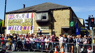 Spectators gather in the sunshine in Otley ahead of the race.