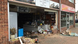 The car crashed into Stratwicks Ltd in Woodloes Avenue South at around 2.10pm