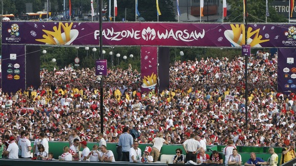 Over 100,000 people packed into Warsaw&#x27;s FanZone on the first day of Euro 2012.
