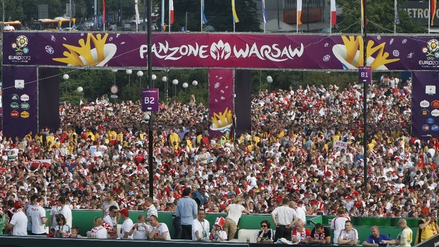 Over 100,000 people packed into Warsaw's FanZone on the first day of Euro 2012.