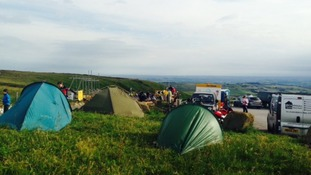 Cycling enthusiasts camped overnight in Holme Moss, West Yorkshire.