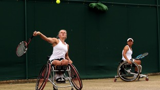 Great Britain's Jordanne Whiley hitting the ball.