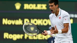 Novak Djokovic reacts after his match again Roger Federer.
