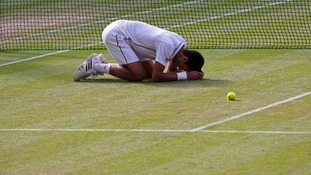 Djokovic fell to his knees when he realised he had won his second Wimbledon title.