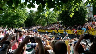Crowds line the streets as Le Tour passes through Yorkshire.