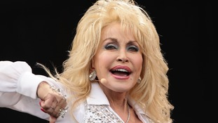 Dolly Parton performing at Glastonbury festival.