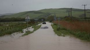 Flooding in Borth, West Wales.