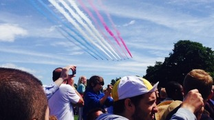 Red Arrows fly over Harewood House