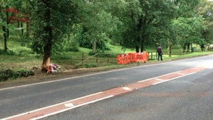 Scene of the crash in Pershore this lunchtime