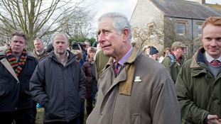 Prince Charles pictured in Muchelney in February, when it was largely cut off due to flooding on the Somerset Levels.