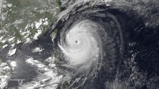 This satellite image of Typhoon Neoguri shows the storm's movement towards Japan.