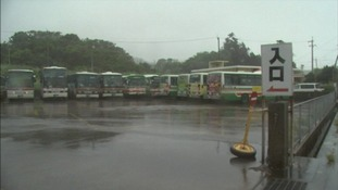 Buses have ground to a halt in many areas as the typhoon moves towards Japan.