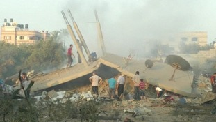 Homes destroyed in the Israeli airstrike on the Gaza Strip this morning.