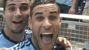 Dom Dwyer celebrates scoring with a 'selfie'.