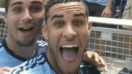 Footballer booked for 'selfie' celebration
