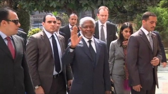 Former UN Secretary-General Kofi Annan arrives in Cairo ahead of his visit to Syria