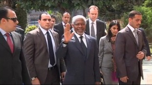 Former UN Secretary-General Kofi Annan arrives in Cairo ahead of his visit to Syria